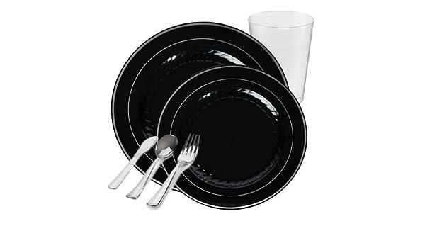 ... plástico vajilla paquete para 20 personas | cena y postre platos, vasos de plástico y cubertería (plástico, plata | 120 piezas Total: Amazon.es: Hogar