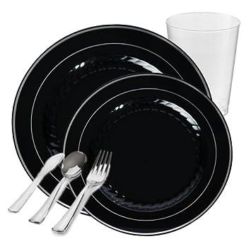 POSH Fuentes del partido | Rimini negro con borde plateado valor plástico vajilla paquete para 20