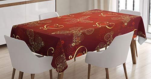 Ambesonne Maroon Tablecloth, Valentines Day Romance Swirled Lines Ornate Lace Style Butterflies Hearts, Dining Room Kitchen Rectangular Table Cover, 52 W X 70 L Inches, Pale Yellow Vermilion
