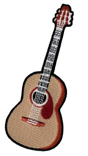 Acoustic Guitar Embroidered Patch Iron-On Folk Rock Musical Instrument (Best Ibanez Guitar For Metal)