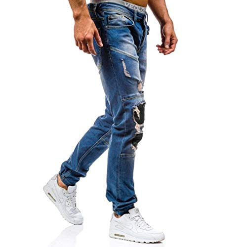 blue Puro Con Cotone Strappati Denim Buchi Fit Slim Casual Da Distrutti 11 Uomo Pantaloni In Jeans qxwFRUZAx