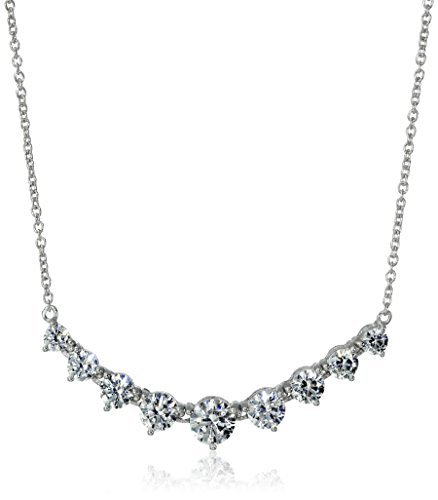 Platinum-Plated-Sterling-Silver-and-Swarovski-Zirconia-Graduated-Pendant-Necklace