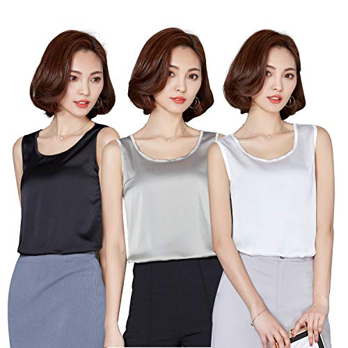Alizeal Womens 3 Pieces Silk-Feeling Charmeuse Camisoles, Black/Silver/White, -