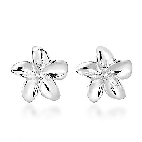 (Hawaiian Plumeria Flower .925 Sterling Silver Stud Earrings)