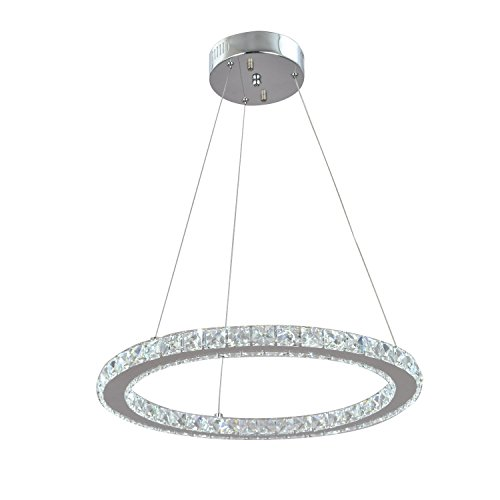 UNITARY BRAND Modern Crystal Nature White LED Pendant Light With 1 Unique Ring Max 20W Chrome Finish ()