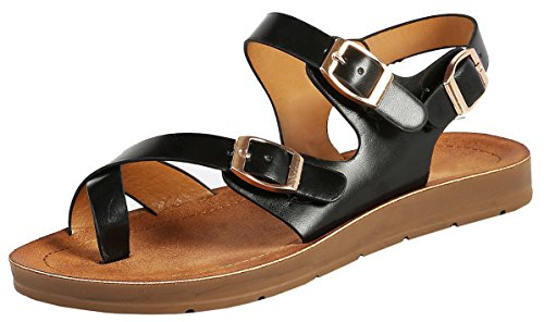 Bamboo Marmie-04S Womens Toe Ring Flat Sandals Black PU Size (Toe Ring Flat Sandals)