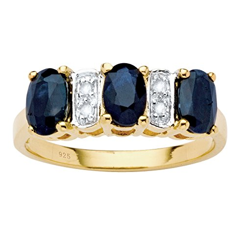 18K Yellow Gold over Sterling Silver Oval Cut Genuine Blue Sapphire and Diamond Accent Ring Size 7