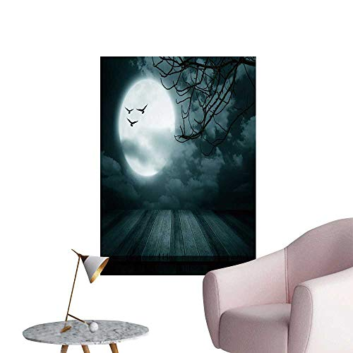 (SeptSonne Wall Stickers for Living Room Halloween backgroun Wooden Floor blurre Full Moon Style Vinyl Wall Stickers Print,16