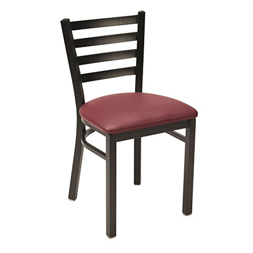 - KFI Seating IM3316SB Upholstered Cafe Chair with Ladder Back, Commercial Grade, Burgundy Vinyl, Made in the USA