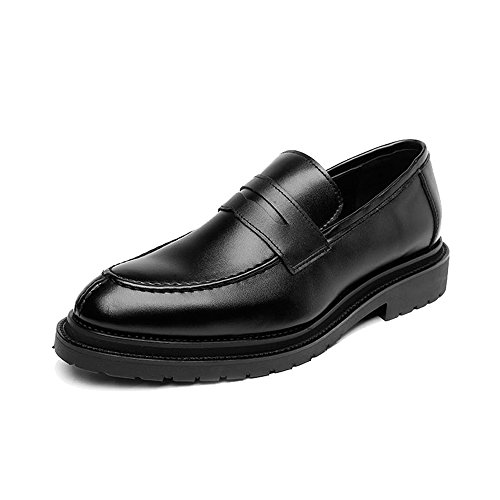 Easy Go Shopping Leather Shoes, Men's Leather Shoes Smooth Frosted PU Leather Upper Loafers Gentlemen Business Outsole Black