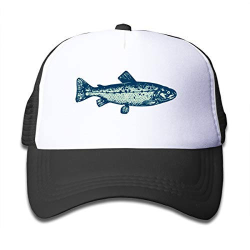 Green Bass Fish Boy Girls Funny Adjustable Mesh Truckers Hat Kids Baseball Caps