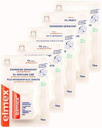 5x ELMEX Zahnseide gewachst mit Aminfluorid 50m Minze Mint