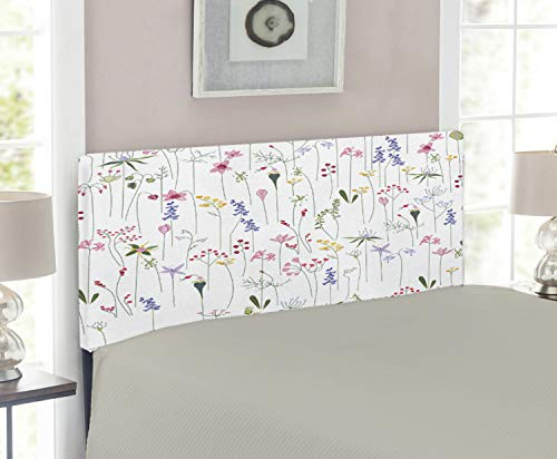 Lunarable Tulip Headboard, Messy Floral Composition of Plant Species as Tulip Rose Bellflower with Tall Twigs, Upholstered Decorative Metal Headboard with Memory Foam, for Twin Size Bed, Multicolor (Twig Style Headboard)