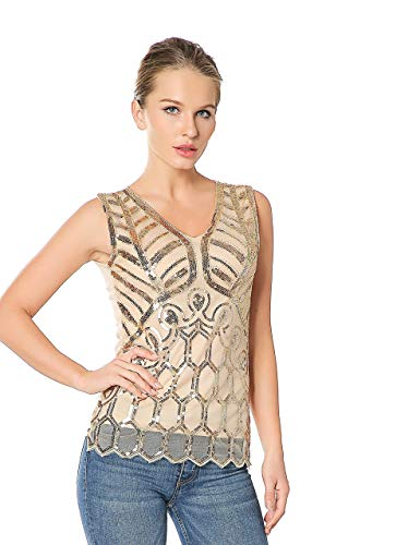 Metme Women's Sequins Embellished Sleeveless Shirt V Neck Pullover Top Sexy Mesh Vest Lace Tank Top Apricot