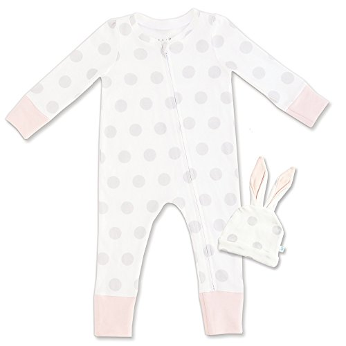 Tealbee Baby: Organic Cotton One Piece Zipper Pajama with Fold-Over Footie & Bunny Ear Hat - Unisex Footed Jammies for Newborn/Infant - Footsie Sleepers for Girls and Boys (0-3M, Polka Dots Pink) (Over Bunny)