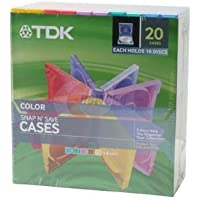 TDK Color Snap N Save 10-disk CD and DVD Jewel Cases, Pack of 20