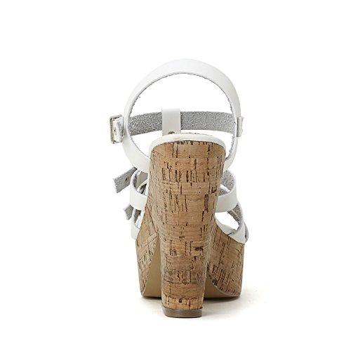PRENDIMI by Scarpe&Scarpe - Sandalias altas con hebilla doble y T-bar, con Tacones 12 cm Blanco