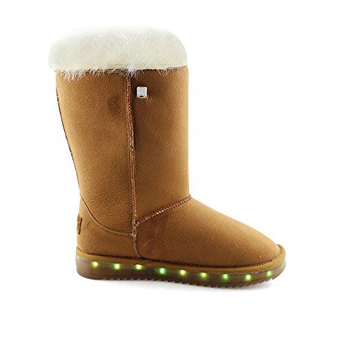Girls Lt Womens Charging LED Snow Brown2 Idea Suede USB Peak Boots Frames qvxwHtgvE