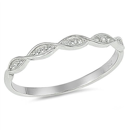 White CZ Thin Stackable Infinity Wedding Ring Sterling Silver Band Size 6 by Sac Silver