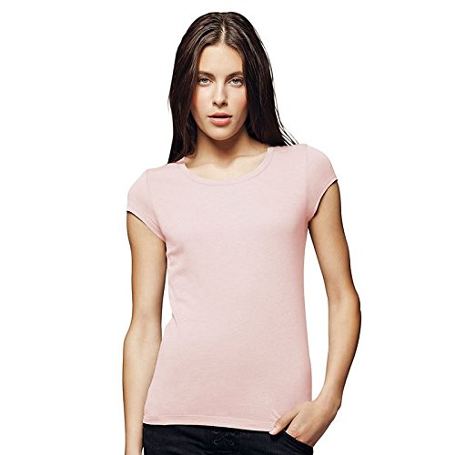 Ladies' Sheer Rib Short Sleeve Longer Length Tee Shirt, Color: Black, Size: Medium