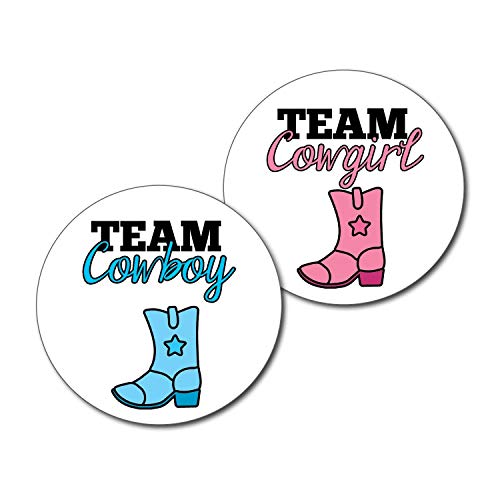 36 2.5-inch Team Cowboy and Cowgirl Gender Reveal Party Stickers]()