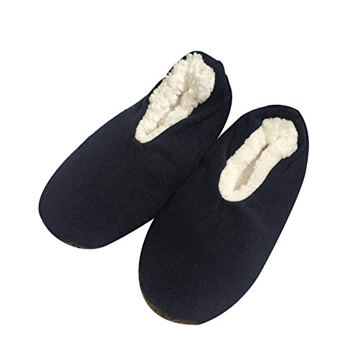 Men's Slippers Socks Autumn Winter Indoor Non-skid Floor Shoes US 9-10(Navy) - Mens Slipper Sock