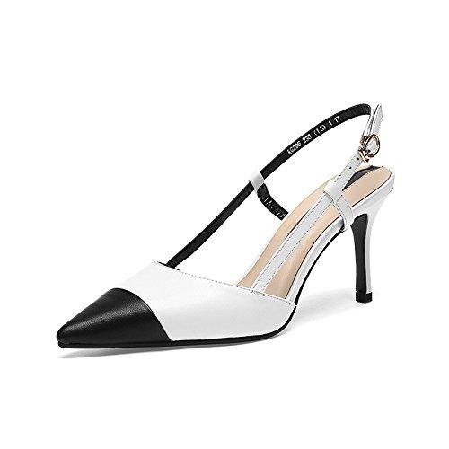 Pointue white Hauts Chaussures Femmes Talons Assorties Chaussures Personnalité pour DKFJKI Sandales de Soirée wCq87xp81
