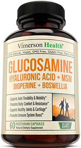 Glucosamine Sulfate with Hyaluronic Acid – Bioperine, MSM, Boswellia. Joint Pain Relief Supplement. Natural Anti-Inflammatory & Antioxidant Pills for Back, Knees & Hands. Immune System Booster.
