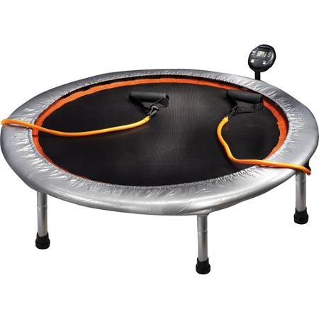 Six Legged Circuit Trainer 36'' Mini Trampoline with 2 Resistance Cords and Electric Monitor by Golds Gym