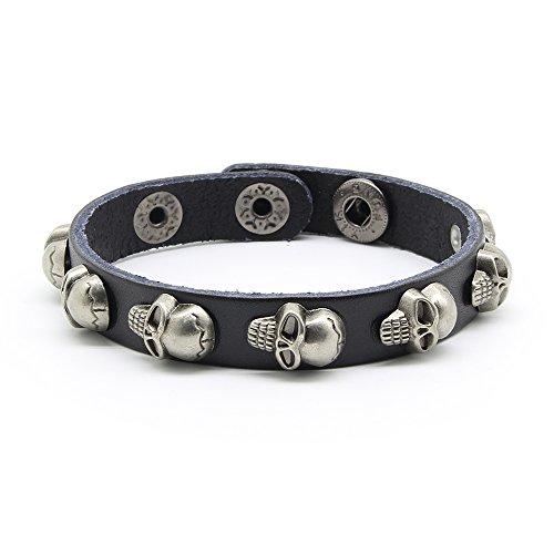 Skull Bracelet, Biker Bracelet Skull Rivet Spike, Leather Bracelet for Men and Women, Punk Rock 7-9 Inch (Skull Leather)