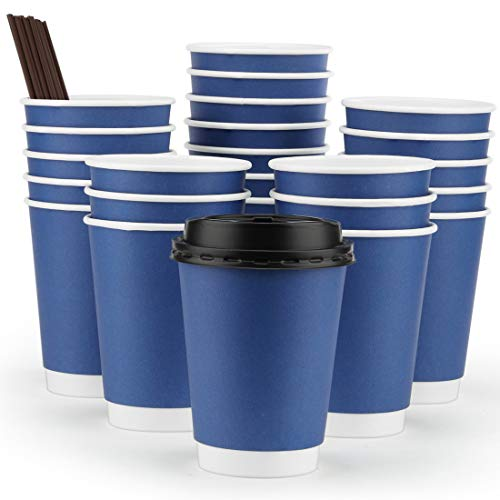 Eupako Disposable Paper Coffee Cups 12 oz With Lids and Straws 50 Pack, To Go Coffee Cup, Insulated Travel Cup, Double Wall Cups Protect Hands, No Sleeves needed! Blue