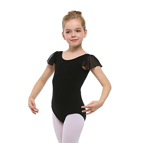 STELLE Girl's Cotton Ruffle Short Sleeve Leotard For Dance, Gymnastics and Ballet (Toddler/Little Girl/Big Girl)(100cm(US 5Y), Black)