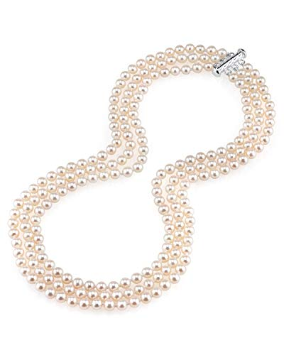 THE PEARL SOURCE 5.0-5.5mm AAAA Quality Triple Strand White Freshwater Cultured Pearl Necklace for Women in 16-17-18