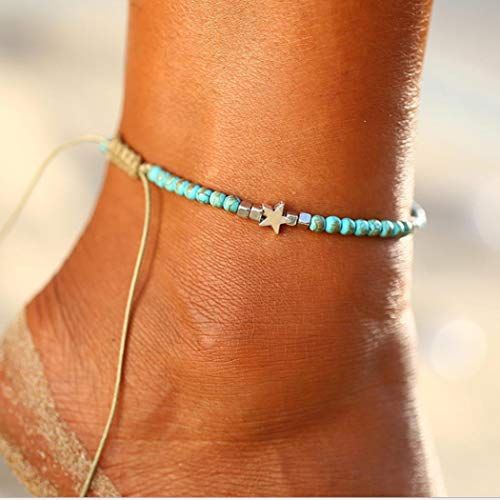 Zoestar Boho Turquoise Star Anklet Ankle Bracelet Beaded Foot Accessories Jewelry for -