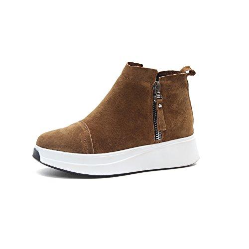 HDYS Zapatos de Mujer Otoño Invierno inferior grueso tubo corto impermeable botas estudiante Martín Brown