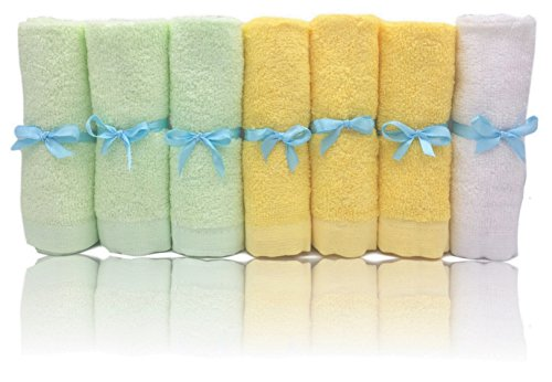 Bamboo Baby Washcloths Soft Organic 7 Pack Perfect for Baby Bathing Skin Care