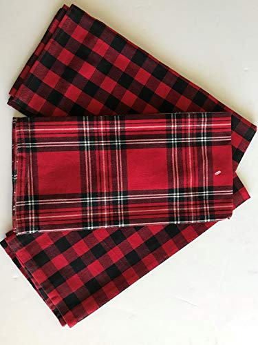 Sebastien & Groome Cozy Plaid Tea Towels, Set of 3 (Kitchen Checkered)
