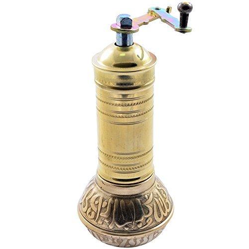Manual Hand Grinder Mill SET for Turkish Greek Arabic Coffee Beans & Spice Pepper Salt , Brass (Mommy & Kid)
