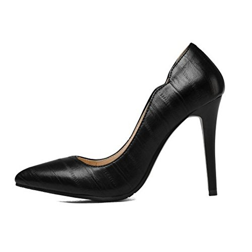 SJJH Elegant Stiletto Court Shoes with Bling Materail and Plus Cute Dressy Shoes Black e9cPK5wTF