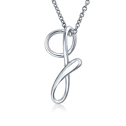 - Letter G Cursive Alphabet Script Initial Pendant Necklace For Women 925 Sterling Silver 18 Inches
