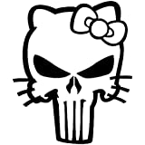 Hello Kitty Punisher Vinyl Decal Sticker | Cars Trucks Vans Walls Laptops Cups | Black | 5.5 inches | KCD1021