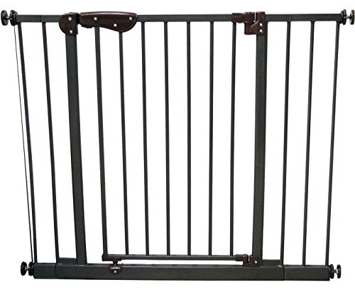 Crown Pet Products 30-Inch High Tall Pet Gate with Auto-Close Door with Extensions, Fits Openings 28.28″ to 38.1″ Wide, Dark Bronze/Brown Finish For Sale