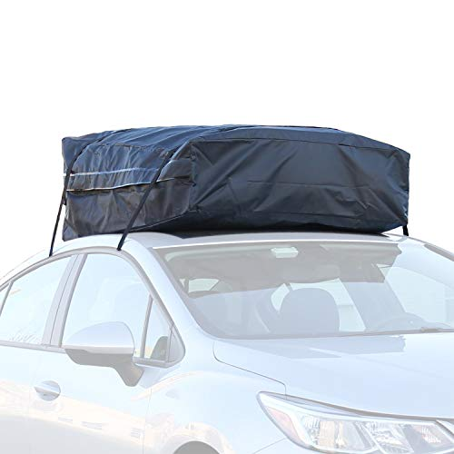 Ivation Car Roof Bag - 100% Waterproof Roof Top Cargo Bag No Rack Needed + Non Slip Roof Mat & Storage Bag, for Any Car Van or SUV (15 Cubic Feet) (Renewed)