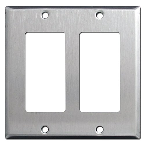 Brushed Satin Nickel Stainless Steel Wall Covers Switch Plates & Outlet Covers (Double Rocker)
