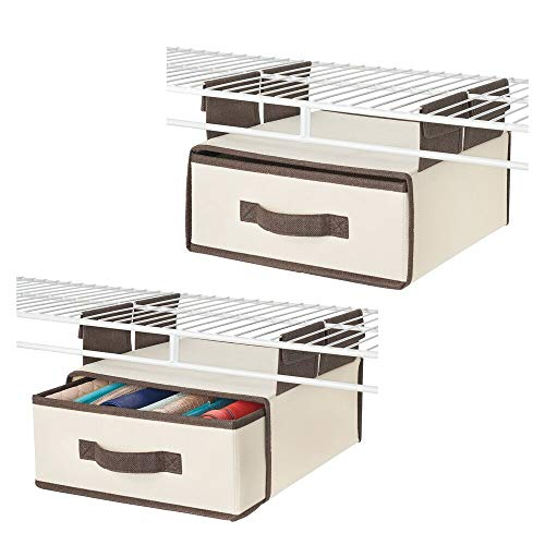 mDesign Soft Fabric Over Closet Shelving Hanging Storage Organizer - Bin Box with Removable Drawer for Closets in Bedrooms, Hallway, Entryway, Mudroom - 2 Pack, Cream/Espresso Brown (Bedroom Organizer Closet)