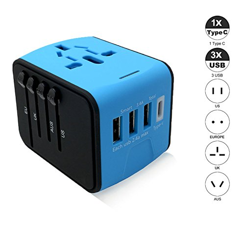 Jushoor International Travel Power Adapter with 3 USB & 1 Type C Output Port Charger, support worldwide AC 100-240V, Wall Outlet for UK, US, AU, Europe & Asia- Blue by Jushoor