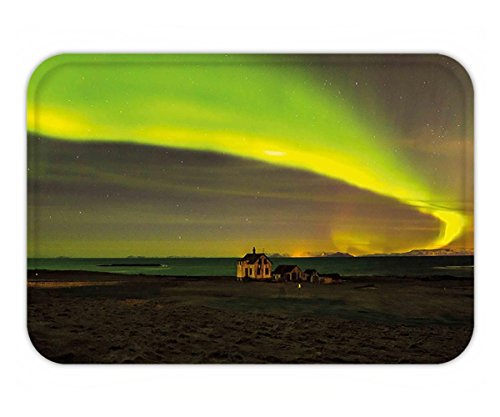 Minicoso Doormat Northern Lights Celestial Show on Abandoned House in Aurora Borealis Print Apple Olive and Army - Predator The Show Pictures Me Of
