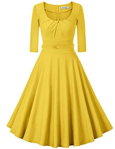 (MUXXN Women's 1950s Retro High Waist Slim Evening Party Dress (XL Yellow))