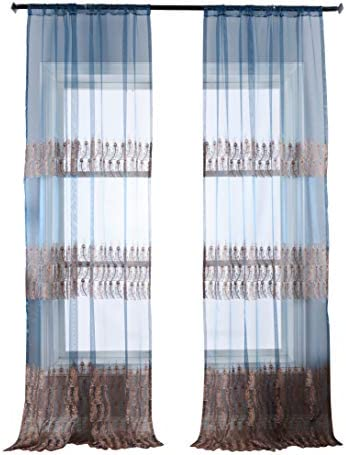Editors' Choice: BW0057 Luxurious Sheer Curtains Exquisite Peacock Feathers Embroidered Window Treatment