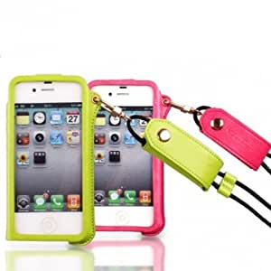 Fashion PU Leather Case With Hanging On The Rope For iPhone 4 4S --- Color:Black